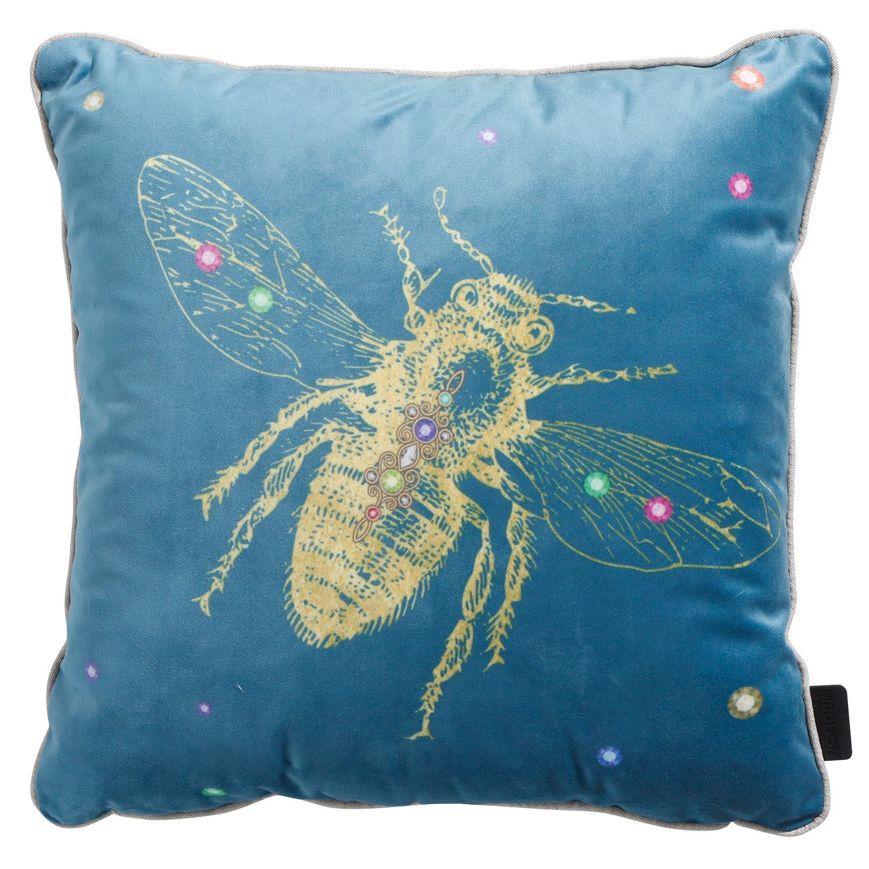 Zierkissen 45x45cm - Velvet insect blau