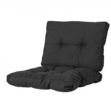 Loungekissen Sitz und Rücken 60x60 - Rib Schwarz