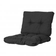 Loungekissen Sitz und Rücken 70x70cm Florance - Rib Schwarz